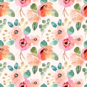 Sweet flower watercolor seamless pattern