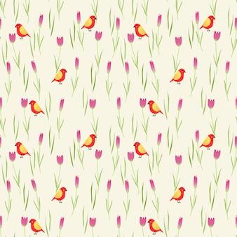 甘い花と小さな鳥のシームレスパターン。