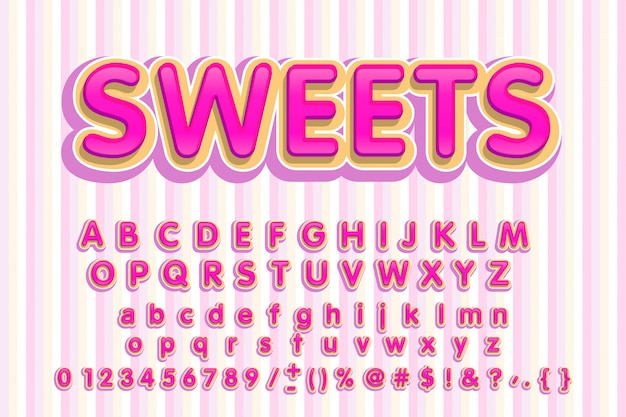 Sweet font. pink letters.candy alphabet.