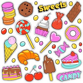 ポップアートコミックスタイルのパッチ、ステッカー、キャンディー、ケーキ、アイスクリームがセットされた甘い食べ物のバッジ。図