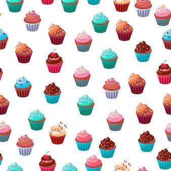 甘い食べ物チョコレート カップケーキのシームレス パターン