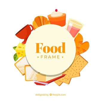 Sweet food frame with flat design