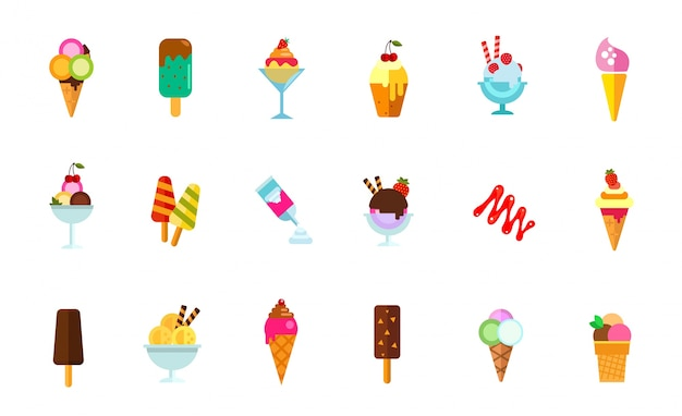 Sweet food icon set