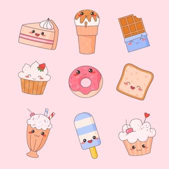 甘い食べ物カワイイかわいい顔セット。アイスクリームとドーナツのデザートキャラクター分離ステッカーコレクション。レストランメニューアイコンキット。面白い日本の食事絵文字落書きフラット漫画ベクトルイラスト