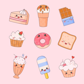 Sweet food kawaii cute face set. ice cream and donut dessert character isolated sticker collection. restaurant menu icon kit. funny japanese meal emoji doodle flat cartoon vector illustration