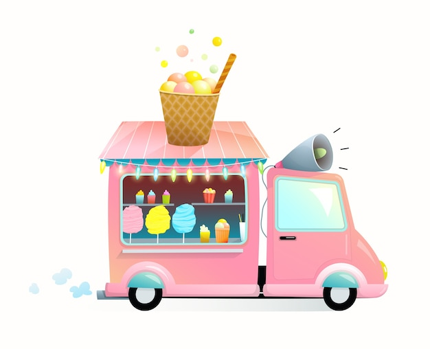 Sweet food shop on wheels isolated on white