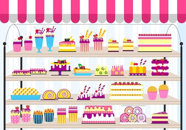 Сладкий для фона вечеринки. набор иконок продуктов питания на с днем рождения или свадьбу.