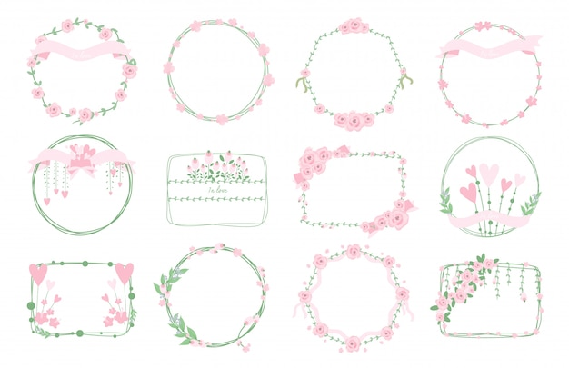 Sweet frames floral wreath set.