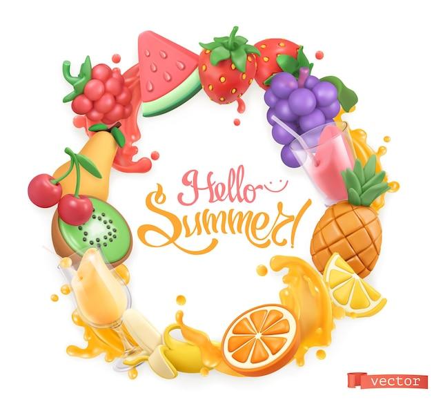 甘い果物のロゴ。 3dベクトルオブジェクト。こんにちは夏の塑像用粘土アートイラスト