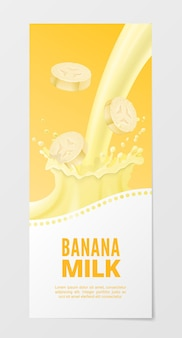 Sweet fruit milk vertical realistic banner. business with banana splash milk isolated on white background.
