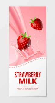 Sweet fruit milk vertical realistic banner with strawberry splash milk isolated on white background.