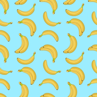 Sweet fruit yellow bananas seamless pattern