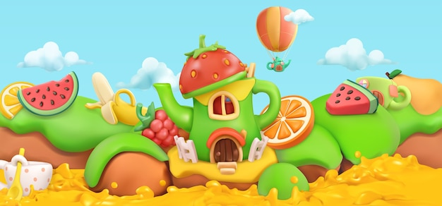 Sweet fruits. cartoon landscape background
