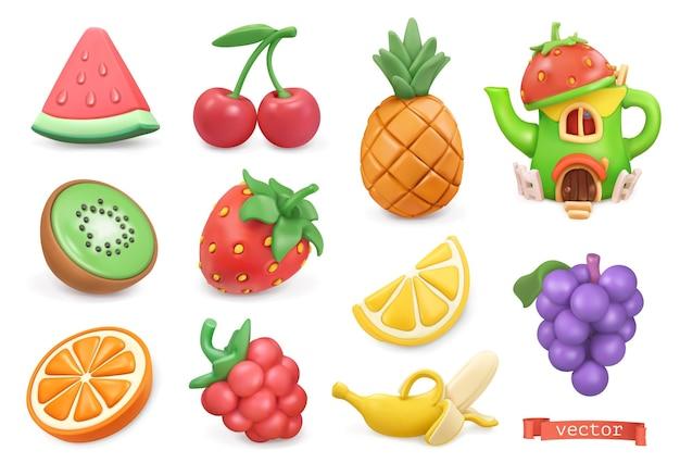 甘い果物のアイコンを設定します。スイカ、キウイ、オレンジ、チェリー、ストロベリー、ラズベリー、パイナップル、レモン、バナナ、ブドウ。塑像用粘土のアートオブジェクト