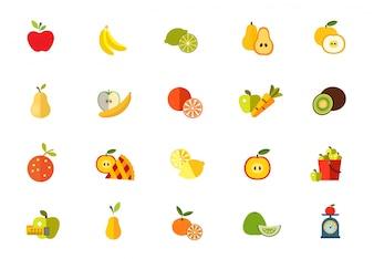 Sweet fruits icon set