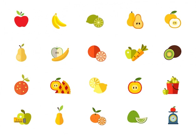 Sweet fruits icon set
