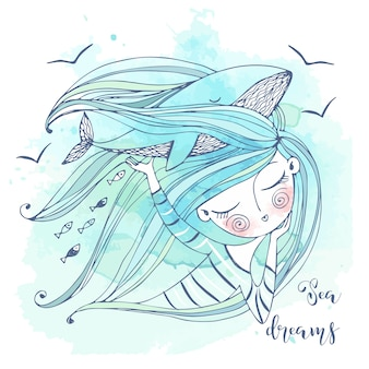 A sweet girl dreams of the sea. her fantasy is a big blue whale. graphics and watercolors.