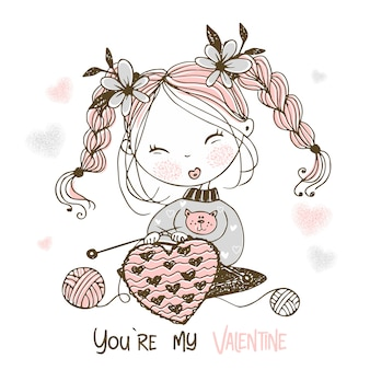 A sweet girl knits a big heart. you're my valentine.