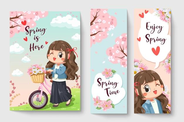 Ragazza dolce che guida una bicicletta nell'illustrazione di tema di primavera per opere d'arte di moda per bambini