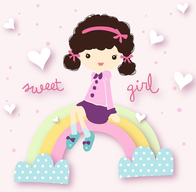 Sweet girl vector set