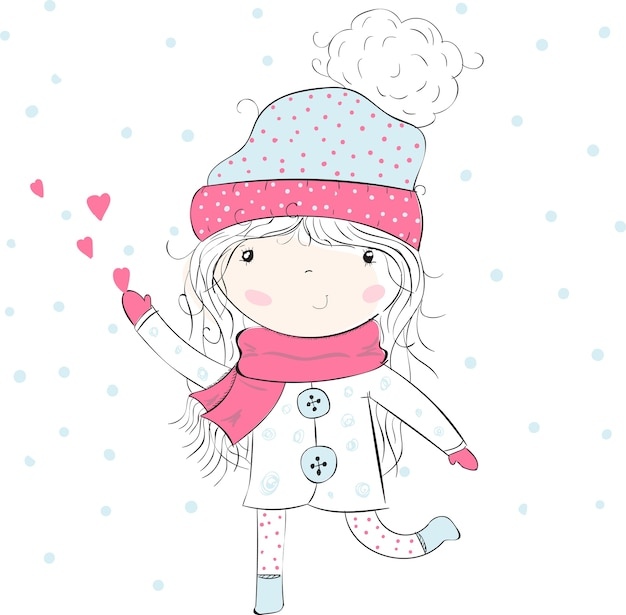 Sweet girl in winter clothing catches hearts,love