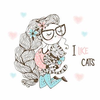 Милая девочка с пышными волосами любит своего котенка. стиль каракули.