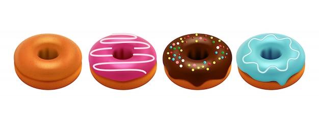Сладкие глазированные пончики, изолированные на белом фоне. набор реалистичных пончиков