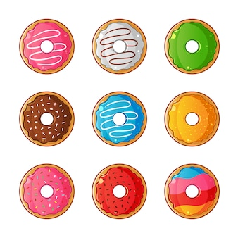 Sweet glazed doughnuts set illustration