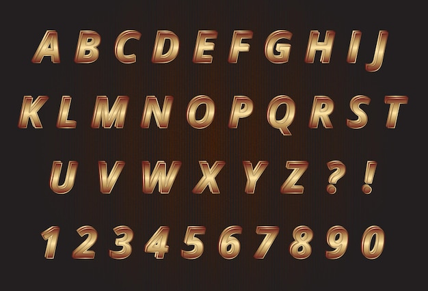 Sweet gold alphabets numbers set
