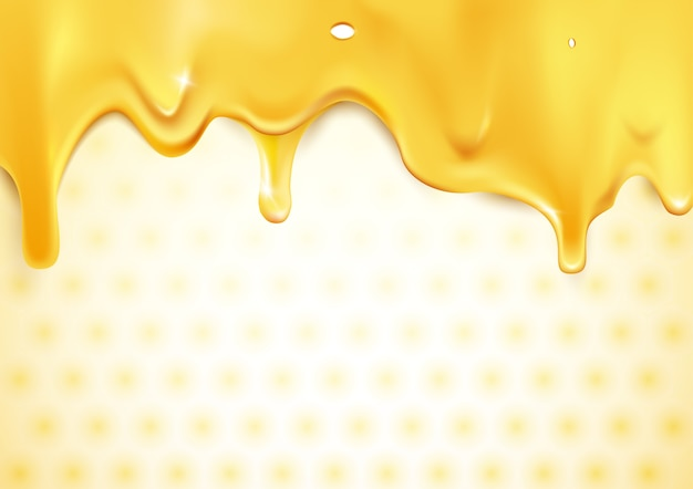 Sweet gold dripping honey on honeycomb background