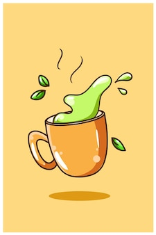 Sweet green tea cartoon illustration