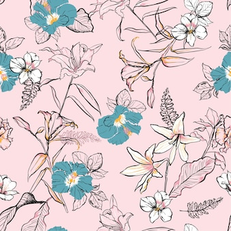 Sweet hand drawn line sketch flowers pattern