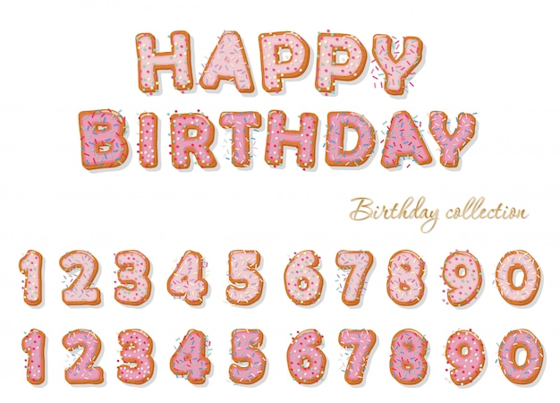 Sweet hand drawn numbers set for birthday design.