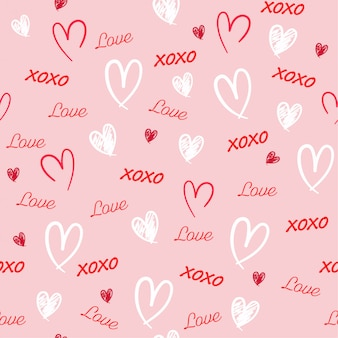 Sweet hand drawn seamless pattern with word love