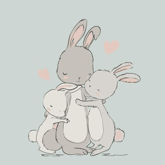 Sweet hares - mom and kids. vector illustration