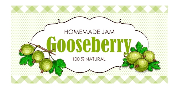 Sweet and healthy homemade gooseberry jam marmalade paper label