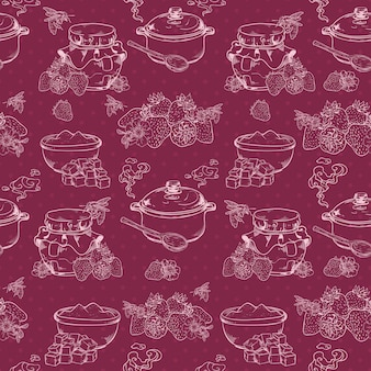 Sweet and healthy homemade strawberry jam outline seamless pattern with berries and sugar vector illustration