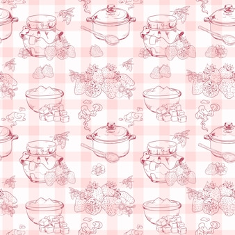 Sweet and healthy homemade strawberry jam seamless pattern