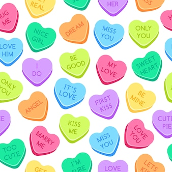 Sweet heart candies pattern. colorful valentines hearts, love conversation candies and sweetheart candy seamless  illustration