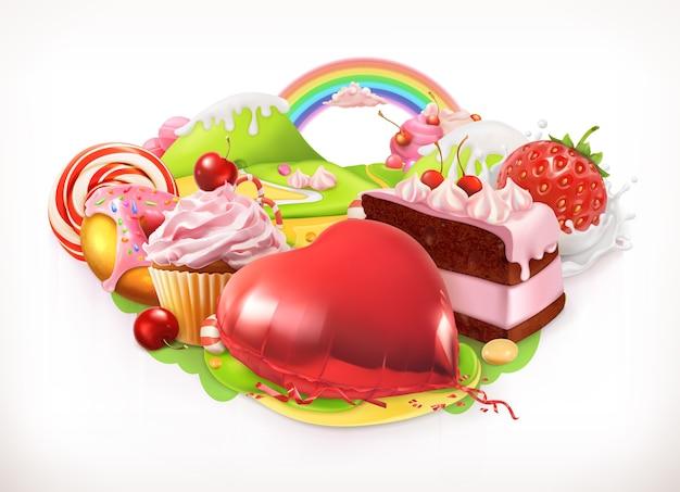 甘い心。菓子とデザートのイラスト
