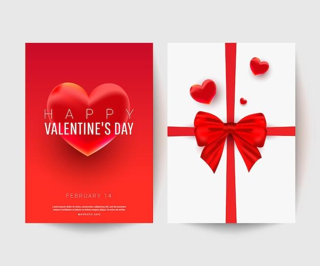 Сладкая форма декора сердца с бантом подарка-сюрприза на белой поздравительной открытке с текстом для счастливого дня святого валентина.