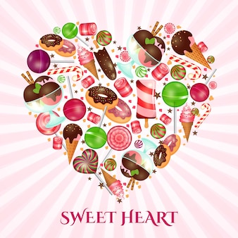 Sweet heart poster for sweet shop. food dessert, donut and candy, confectionery cake,