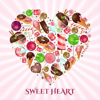 Poster di cuore dolce per negozio di dolci. dessert alimentare, ciambella e caramelle, torta di pasticceria,