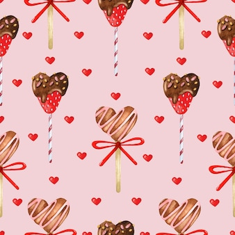 Бесшовный узор сладкие сердца на розовом фоне
