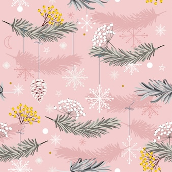 Sweet of holiday seamless vector pattern with leaves
