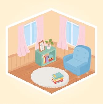 甘い家の肘掛け椅子の本の植物の窓とカーペットの装飾