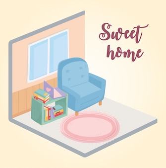 家具の部屋で甘い家のアームチェアのカーペットの窓の本