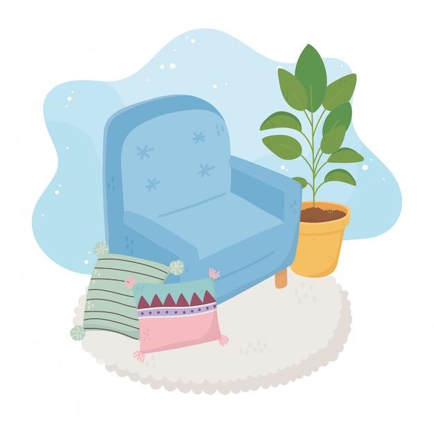 甘い家のアームチェアクッションカーペットと鉢植え