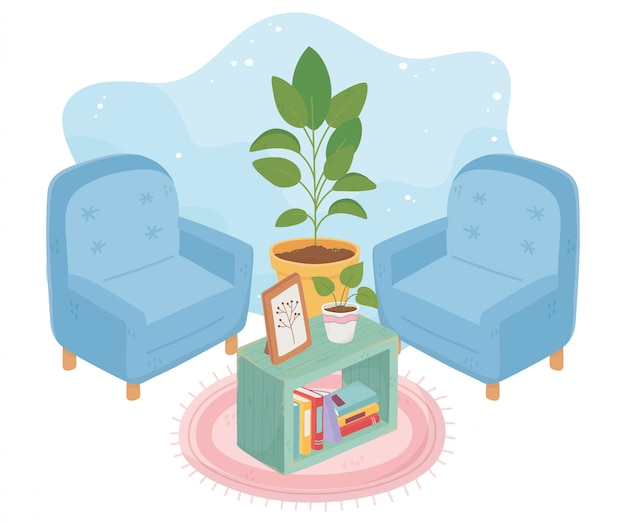 甘い家のアームチェア鉢植え植物の額縁の本とカーペット