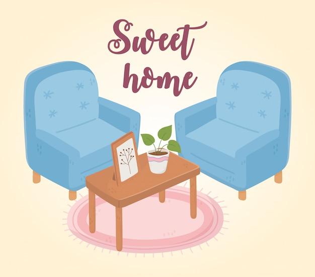 植物とフレームの装飾が施された甘い家庭用アームチェアテーブル